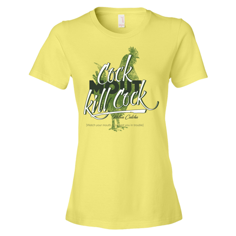 Cock mout kill cock Ladies Ringspun Fashion Fit T-Shirt