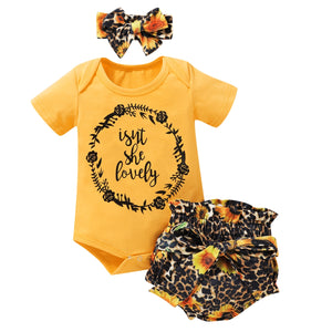 Baby Baby Sunflowers Leopard Print Clothing Set