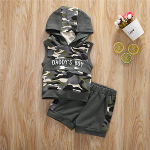 Sleeveless Letter Hooded Clothes Set