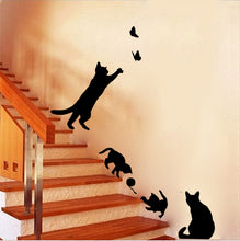 Load image into Gallery viewer, Cat Chase Butterflies Wall Stickers Removable