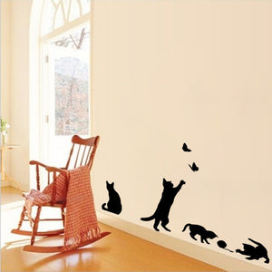 Cat Chase Butterflies Wall Stickers Removable
