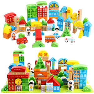 100 Pieces Wooden Building Blocks Baby Toy