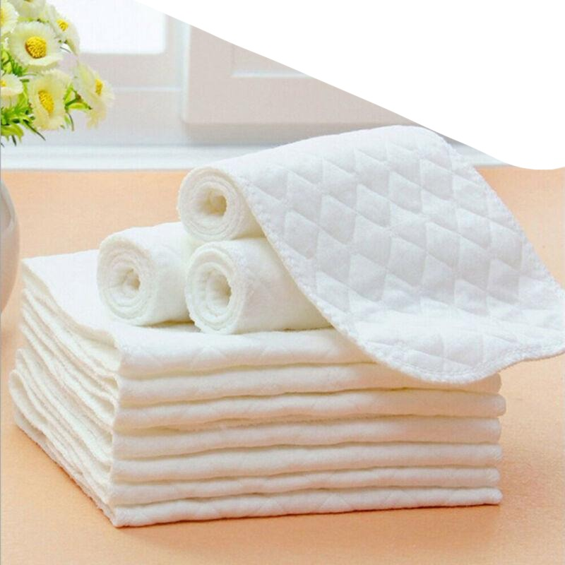 10pcs/lot 3 Layers Ecological Cotton Soft and Breathable Diapers Nappy Liners