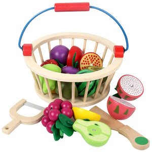 Wooden Magnetic Fruit Vegetable Cutting Toy