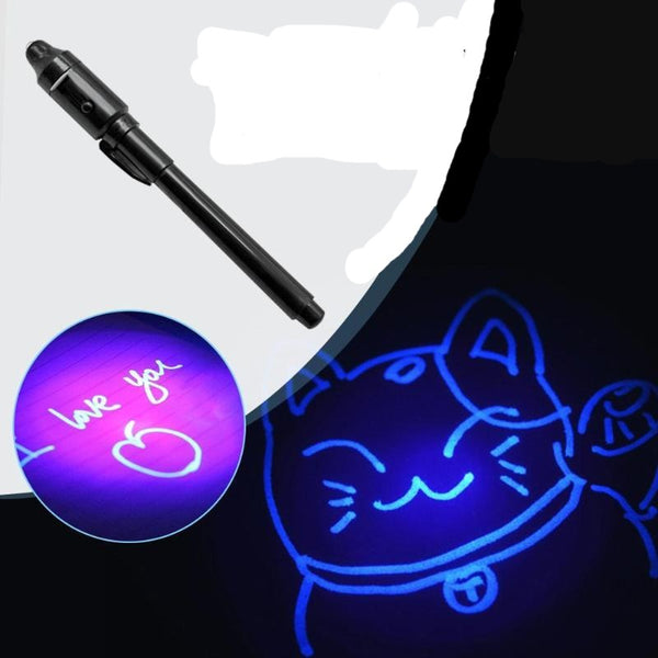 Glow-in-the-dark 2 in 1 Luminous Light Invisible Ink Pen UV