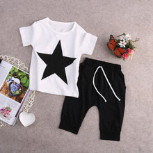 Load image into Gallery viewer, New Summer 2 pieces Star Print T shirt Top and Pant Set