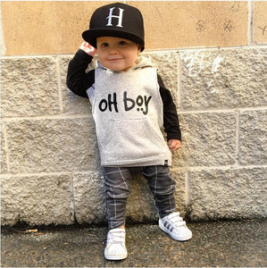 "Baby Boys Clothes Set ""OH BOY"" Casual Long Sleeve & Pants"