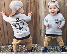 Load image into Gallery viewer, Grey Cotton Tops and Khaki Pants Baby Casual Clothes Outfits