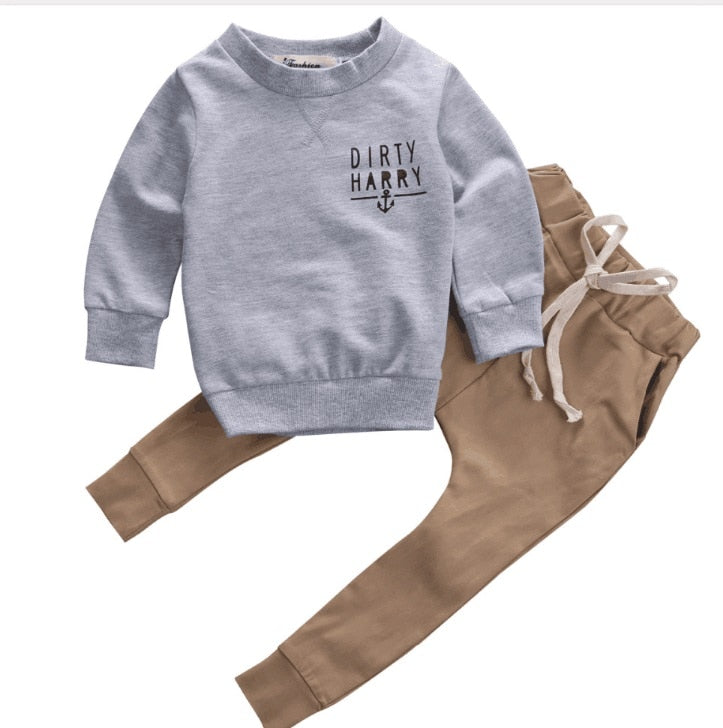 Grey Cotton Tops and Khaki Pants Baby Casual Clothes Outfits