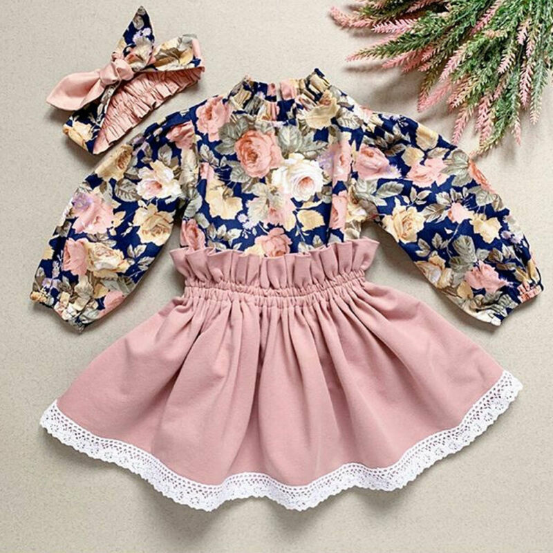 Cute Toddler Baby Girl Kids Clothes Floral Outfit Set