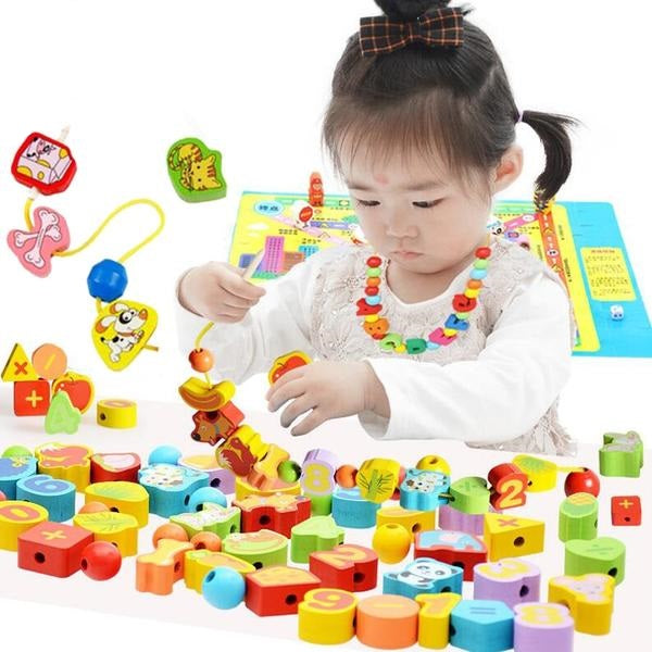 26pcs Colorful Lacing Wooden Toy