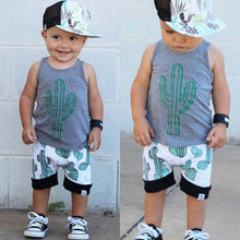 Load image into Gallery viewer, Summer Cactus Sleeveless Tops T Shirt Shorts Outfit Sunsuit|Clothing Sets
