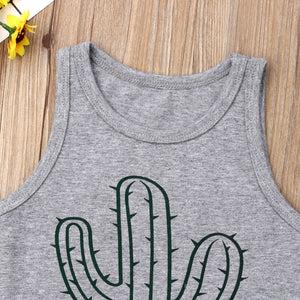 Summer Cactus Sleeveless Tops T Shirt Shorts Outfit Sunsuit|Clothing Sets