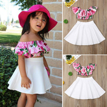Load image into Gallery viewer, Baby Girl Floral Skirt Summer Clothes Set