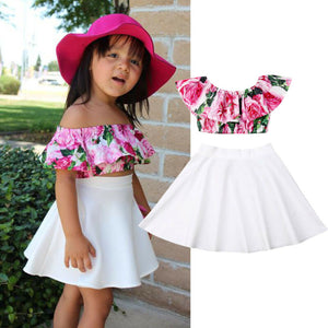 Baby Girl Floral Skirt Summer Clothes Set
