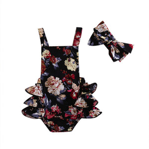 Baby Girls Flower Romper Sleeveless Jumpsuit Outfits