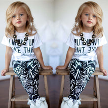 Load image into Gallery viewer, 2pcs Toddler Girls White Casual Tops T Shirt Pants Outfits