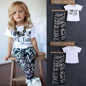 2pcs Toddler Girls White Casual Tops T Shirt Pants Outfits