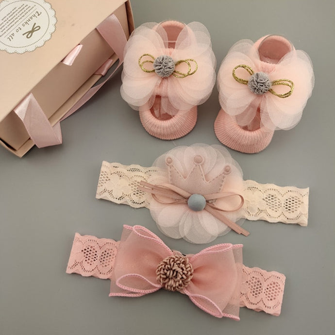 3 PCS Lace Flower Baby Accessories Set