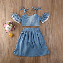 Load image into Gallery viewer, Summer Polka Dots Off Shoulder Tops with Ruffle Skirts and Shorts Clothes set