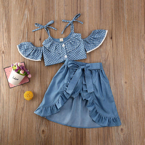 Summer Polka Dots Off Shoulder Tops with Ruffle Skirts and Shorts Clothes set