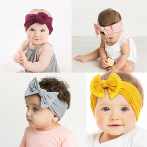 Solid Nylon Bow Headbands For Kids