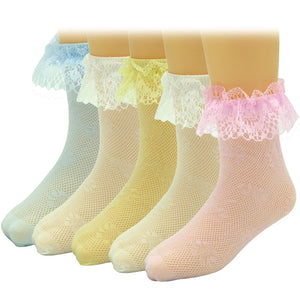 5 Pairs Girls Lace Breathable Socks