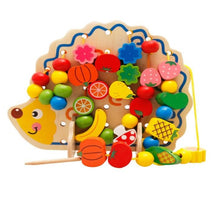 Load image into Gallery viewer, Wooden Hedgehog with 82 pcs Fruits and Vegetables Lacing Set