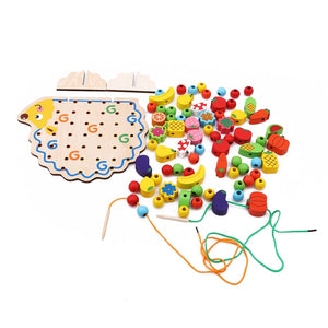 Wooden Hedgehog with 82 pcs Fruits and Vegetables Lacing Set