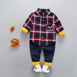 Gentleman Thick Velvet Plaid Pants and Shirt Set
