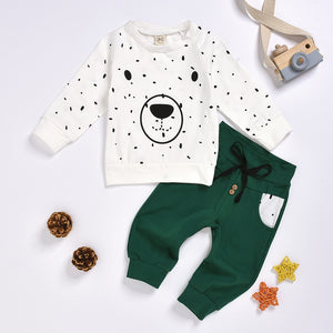 Hoodie Trousers Outfit Cartoon Sweatshirt Tops+ Pants Outfits