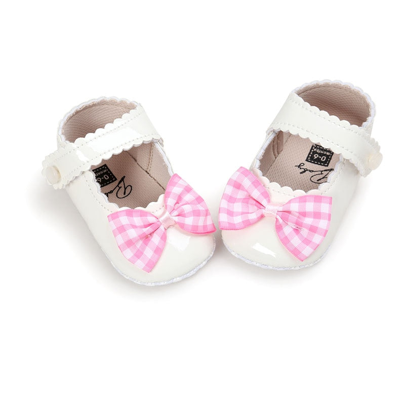 Autumn Infant Baby Soft Sole PU Leather First Walkers Crib Bow Shoes Shoes