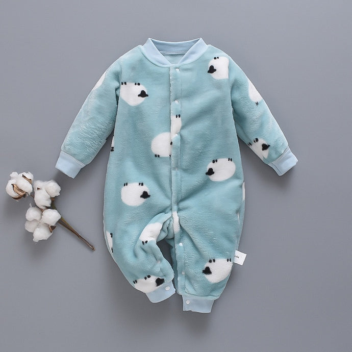 Warm Infant Baby Boy Girl Soft Fleece Jumpsuit