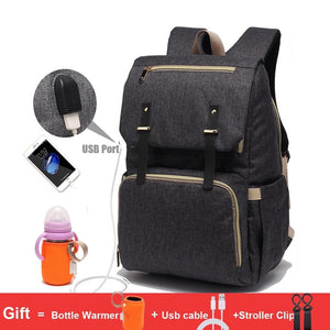 Waterproof Maternity Bag with USB Port & Rechargeable Bottle Holder