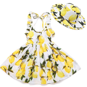 Girls Beach Floral Print Ruffle Princess Party Dresses With Hat