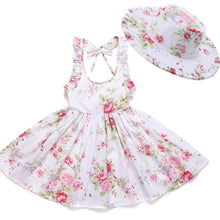 Load image into Gallery viewer, Girls Beach Floral Print Ruffle Princess Party Dresses With Hat