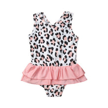 Load image into Gallery viewer, Kids Leopard Tankini Lace Patchwork Swimwear