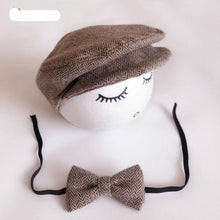 Load image into Gallery viewer, Peaked Beanie Cap Hat & Bow Tie Photography Prop Outfit