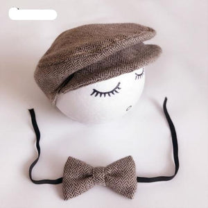 Peaked Beanie Cap Hat & Bow Tie Photography Prop Outfit