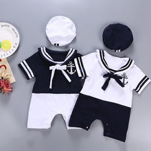 Load image into Gallery viewer, Sailor Style Hat and Romper