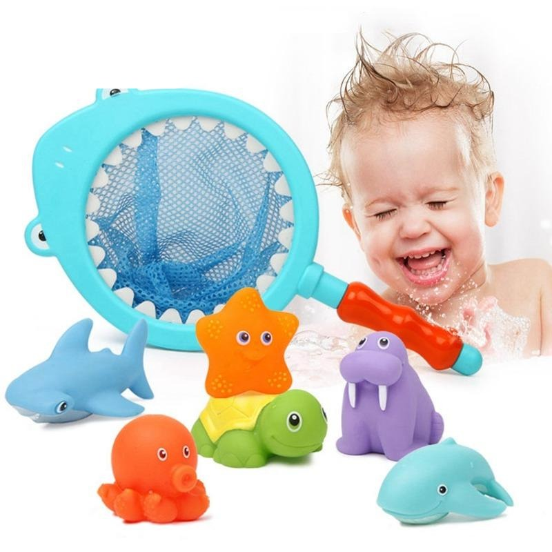 7pcs Soft Rubber Marine Animals Bath Toys