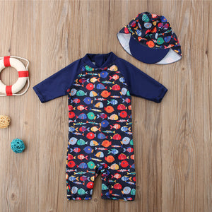 Cute Fish Pattern One Pieces Swim Wear with hat for Children