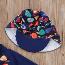 Load image into Gallery viewer, Cute Fish Pattern One Pieces Swim Wear with hat for Children