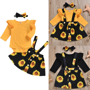 Sunflower Print Romper Tutu Dress Set