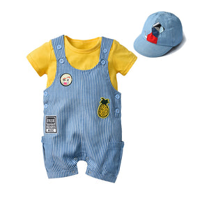 Cute Infant Baby Cap + Romper + Short Overall, 3 Pieces Set