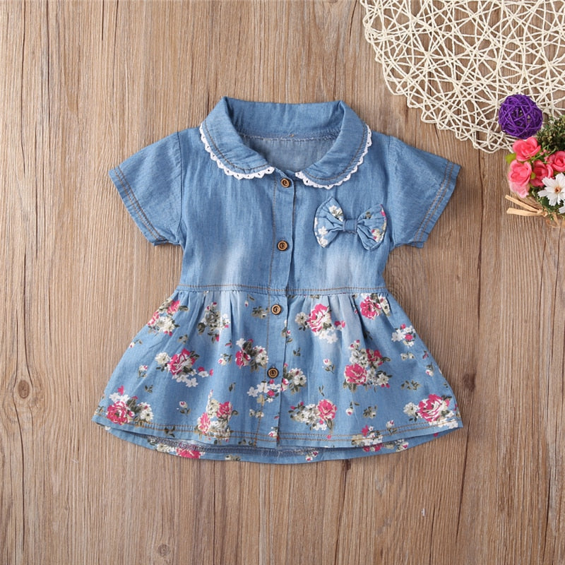 Princess Denim Floral Dress