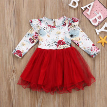 Load image into Gallery viewer, Flower Print Long Sleeve Tutu Tulle Dress One-Piece Outfit