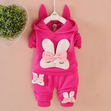 Load image into Gallery viewer, Baby Girl's Bunny Ear Hoodie & Pants