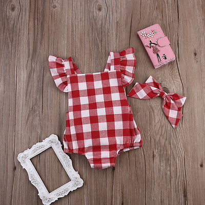 Newborn Baby Girls Sweet Plaid Ruflles Romper Outfit Set