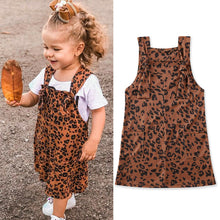 Load image into Gallery viewer, Fashion Kids Girls Leopard Bib Braces Overalls Outfit